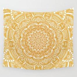 Golden Mustard Yellow Orange Ethnic Mandala Detailed Wall Tapestry