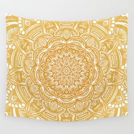 Golden Mustard Yellow Orange Ethnic Mandala Detailed Wall Tapestry