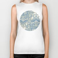 bedding Biker Tanks featuring Blue & Tan Art Nouveau Pattern by micklyn