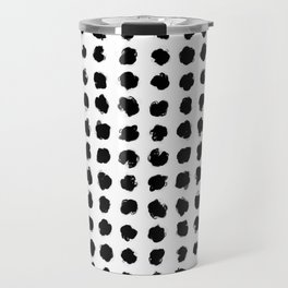 Black and White Minimal Minimalistic Polka Dots Brush Strokes Painting Travel Mug