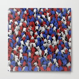 Red blue white hockey players Metal Print