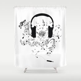 Headphones and Music Notes Shower Curtain