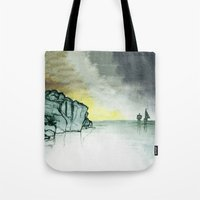 sailing Tote Bags featuring Sailing by Brontosaurus