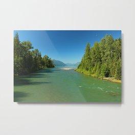 Green Waters Of McDonald River And Lake Metal Print