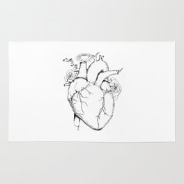 Black and White Anatomical Heart Rug