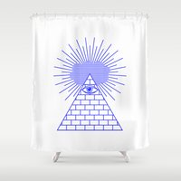 evil eye Shower Curtains featuring EVIL EYE by Anna Lindner