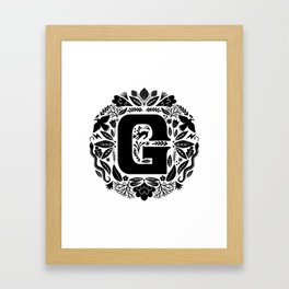 Letter G monogram wildwood Framed Art Print