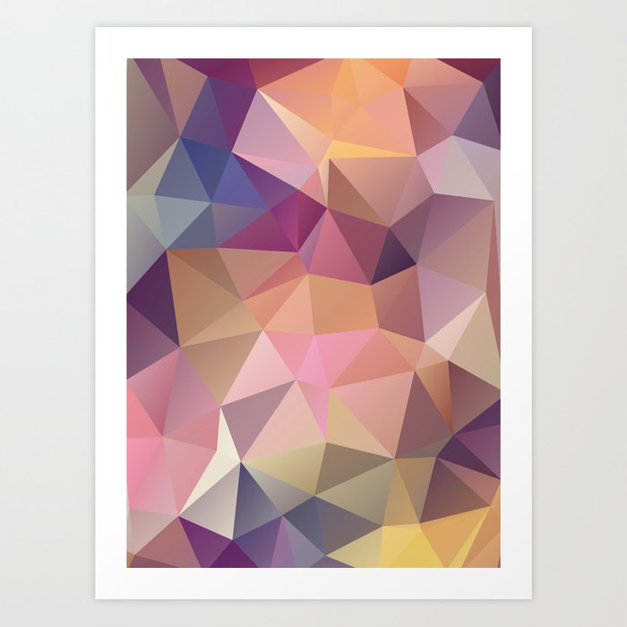 Abstract of triangles polygon in multicolor Art Print