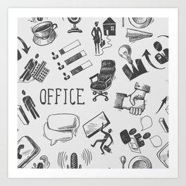 Office pattern Art Print