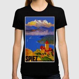 Vintage Spiez Switzerland Travel Poster T-shirt