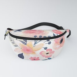 Coral and Navy Floral Design Fanny Pack