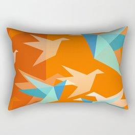Orange Paper Cranes Rectangular Pillow