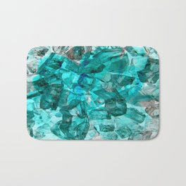 Turquoise Glass Chrystal Abstract Bath Mat