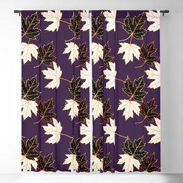 Maple Leaf (Golden Calico) - Plum Blackout Curtain