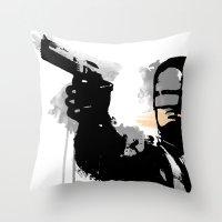 robocop Throw Pillows featuring RoboCop by Molnár Roland