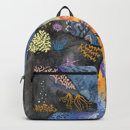 Journey of the deep sea dweller watercolor illustration Backpack