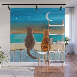 Cats on a Fence Wall Mural