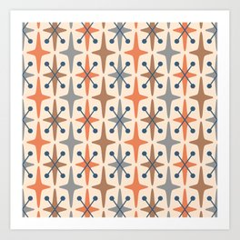 Mid Century Modern Abstract Star Pattern 941 Orange Brown Gray and Blue Art Print