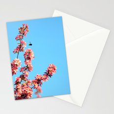 Pink flowers With Bee Stationery Cards
