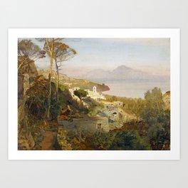 Oswald Achenbach Blick von Sorrent auf Capri 1884 Art Print