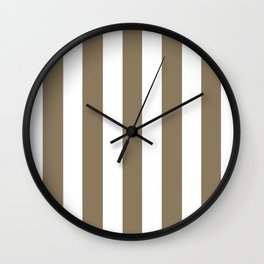 Shadow grey - solid color - white vertical lines pattern Wall Clock