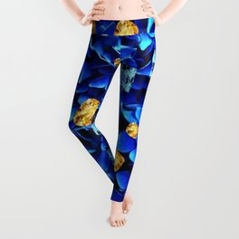 SEPTEMBER BLUE & CHAMPAGNE TOPAZ GEMS BIRTHSTONE ART Leggings