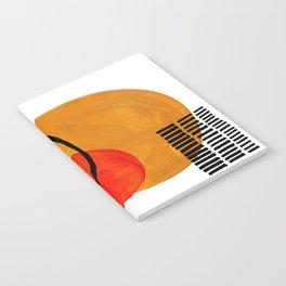 Mid Century Modern Abstract Vintage Pop Art Space Age Pattern Orange Yellow Black Orbit Accent Notebook