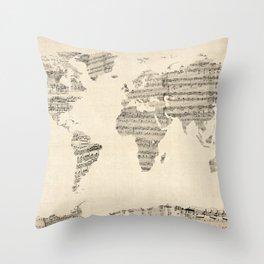 Old Sheet Music World Map Throw Pillow