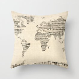 Old Sheet Music World Map Throw Pillow