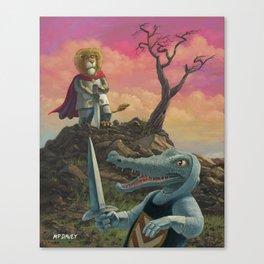 Lionheart Lion about to battle evil crocodile Canvas Print