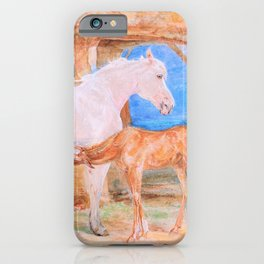 Gray Mare And A Chestnut Foal - John Frederick Lewis iPhone Case