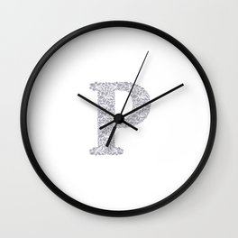 Floral Letter P Wall Clock