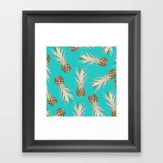 Pineapple Jam Turquoise Framed Art Print