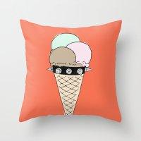 gucci Throw Pillows featuring Ice Cream by Hanna Scott