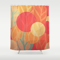 the thing Shower Curtains featuring Spring Thing by VessDSign