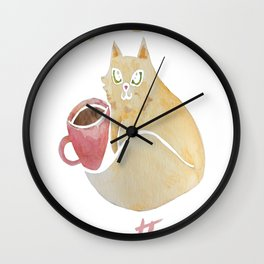 Coffee and Cats are my therapy Wall Clock
