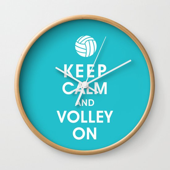 Keep Calm and Volley On (For the Love of Volley Ball) Wall Clock