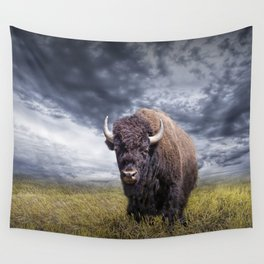 Plains Buffalo on the Prairie Wall Tapestry