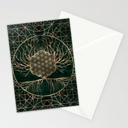 Flower of Life in Tree of life Malachite and Gold Stationery Cards