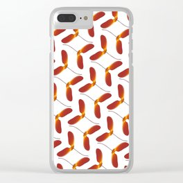 Red Japanese Maple Tree Samara Zigzag Pattern With Alternate Orientation Clear iPhone Case