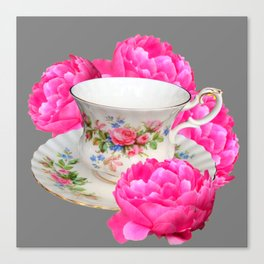 FLORAL TEA CUP & PEONY FLOWERS YELLOW ART Canvas Print