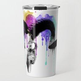 watercolor ram skull Travel Mug