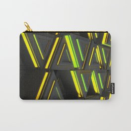 Pattern of grey triangle prisms with yellow glowing lines Carry-All Pouch