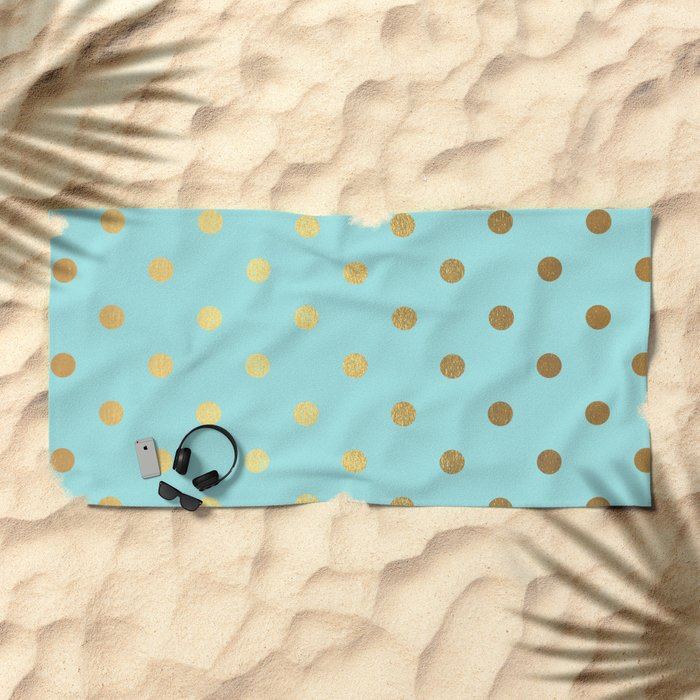 Gold polka dots on aqua background - Luxury turquoise pattern #Society6 Beach Towel