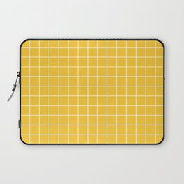 Sunglow - yellow color -  White Lines Grid Pattern Laptop Sleeve