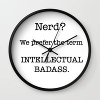 nerd Wall Clocks featuring Nerd by redbigbike