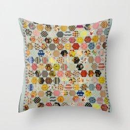 Hexagon and Blue Star Quilt Throw Pillow