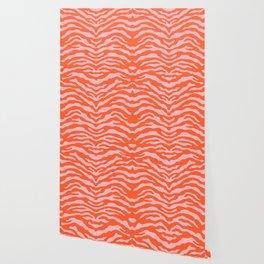 Zebra Wild Animal Print Orange and Pink Wallpaper