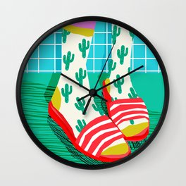 Sliders - memphis throwback retro neon 1980s 80s style pop art shoe fashion grid pattern socks Wall Clock