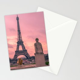 Pink View of Eiffel Tower Paris France Stationery Cards